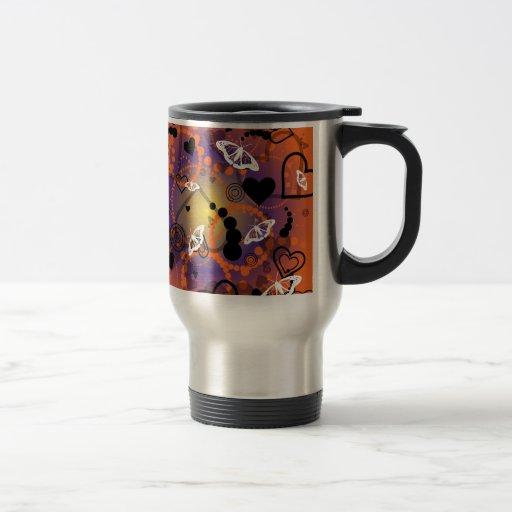 Púrpura anaranjada de la esfera abstracta de la ma taza de café