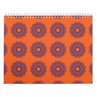 Púrpura anaranjada del estampado de plores calendarios