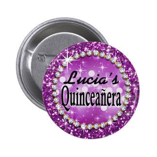 Púrpura atractiva de la celebración de Bling Pin Redondo De 2 Pulgadas