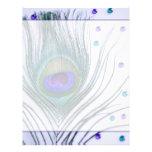 Púrpura atractiva de la pluma del pavo real membretes personalizados