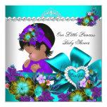 Púrpura azul 3 del trullo del chica de la princesa invitación 13,3 cm x 13,3cm
