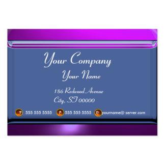 Púrpura azul blanca del monograma de la AMATISTA Tarjetas De Visita Grandes