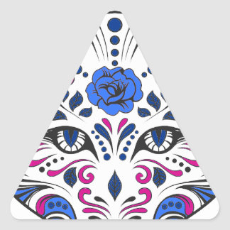 Púrpura azul de la cabeza del lobo del cráneo del pegatina triangular