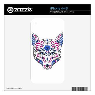 Púrpura azul de la cabeza del lobo del cráneo del skin para el iPhone 4S