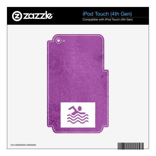 Púrpura azul de la chispa n del satén que brilla calcomanía para iPod touch 4G