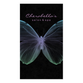 Púrpura azul de la mariposa del balneario de la ta tarjeta de visita