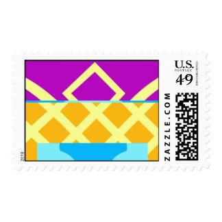 púrpura azul del amarillo anaranjado sello
