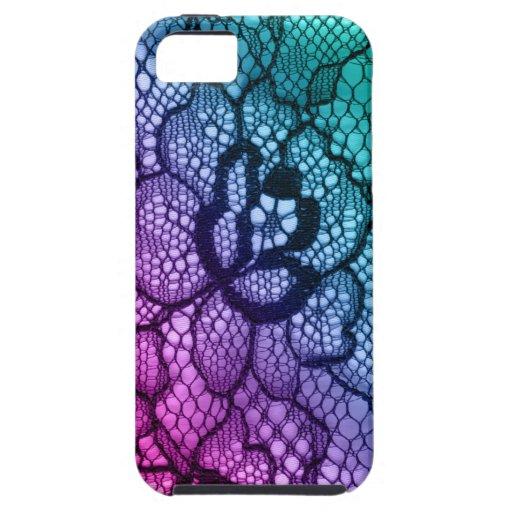 Púrpura azul del rosa de la flor de la cubierta de iPhone 5 carcasa