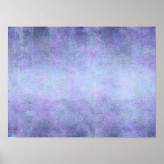 Púrpura, azul del trullo, aguamarina, y acuarela póster