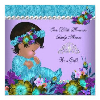 """Púrpura azul del trullo del chica de la princesa invitación 5.25"""" x 5.25"""""""