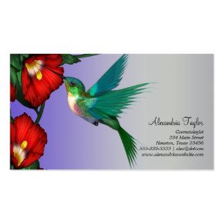 Púrpura azul del trullo rojo del hibisco del colib tarjetas de visita