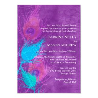 Púrpura, azul, el boda del tema del pavo real del invitación 12,7 x 17,8 cm