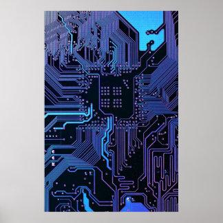 Púrpura azul fresca del ordenador de placa de circ póster