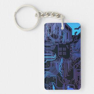 Púrpura azul fresca del ordenador de placa de llavero rectangular acrílico a doble cara