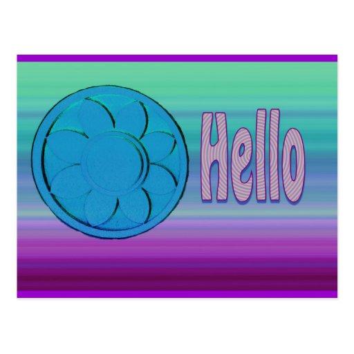 púrpura azul hola postales