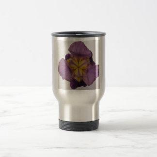 Púrpura barbuda del iris taza de viaje