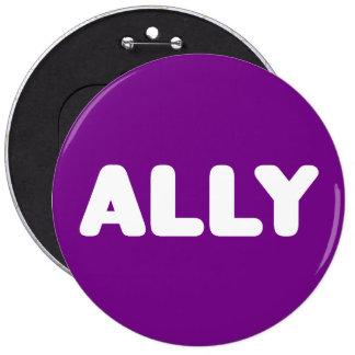 Púrpura blanca de los aliados del aliado LGBTQ del Pin Redondo De 6 Pulgadas