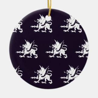 Púrpura blanca de los dragones ornamento para reyes magos