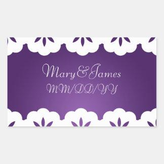 Púrpura blanca del cordón de la fecha elegante del rectangular pegatina