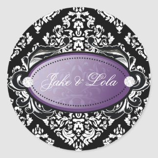 Púrpura blanca lujosamente negra del damasco 311 pegatina redonda