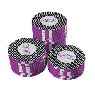 Púrpura blanco y negro del personalizar del contro