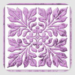 Púrpura blanda caliente de la teja inglesa antigua calcomanias cuadradas