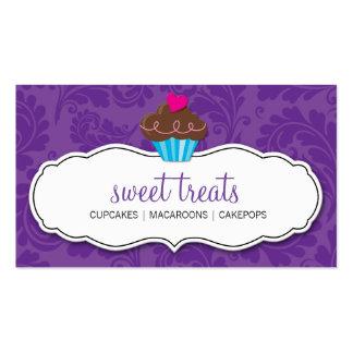 Púrpura bonita linda de la magdalena del flourish tarjetas de visita