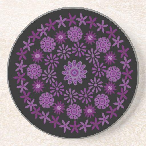 Púrpura bonito y la lila florece negro del persona posavasos personalizados