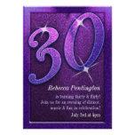 Púrpura brillante 30 e invitaciones coquetas del c invitacion personalizada