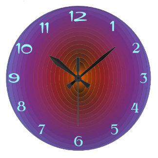 Púrpura brillante/Aqua> WallClock modelado Fractua Reloj Redondo Grande