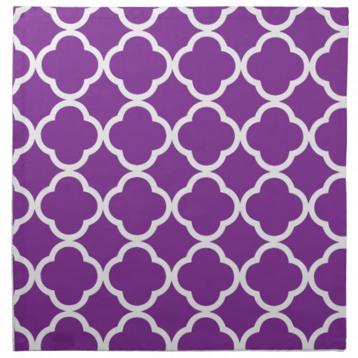 Púrpura brillante de Quatrefoil Servilletas Imprimidas