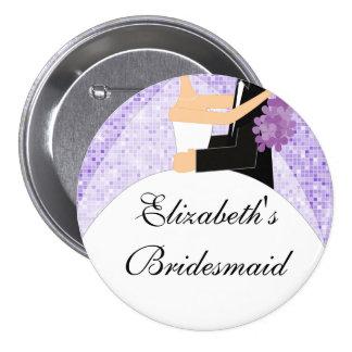 Púrpura brillante del botón/Pin de la dama de hono