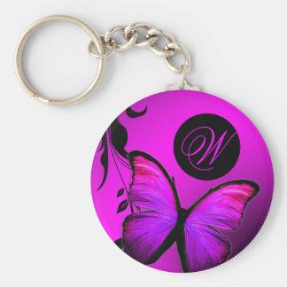 Púrpura brillante del rosa de la mariposa 311 llavero redondo tipo pin