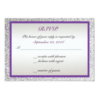 """Púrpura - brillo elegante que casa RSVP Invitación 3.5"""" X 5"""""""