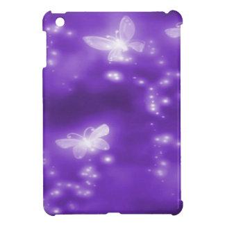 Púrpura brillo y mariposas blancas iPad mini carcasas