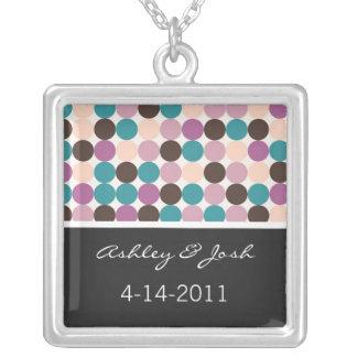 Púrpura, Brown, puntos azules casando el collar