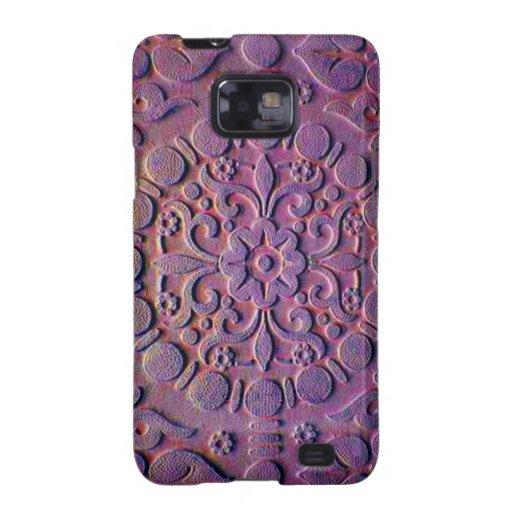 Púrpura caprichosa y floral grabada en relieve oro galaxy s2 carcasa