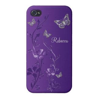 Púrpura caso floral del iPhone 4 de la mariposa d iPhone 4 Cárcasa