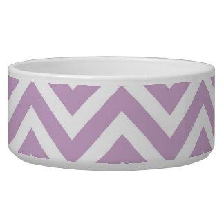 Púrpura Chevron de la lila Comedero Para Mascota