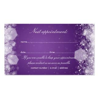 Púrpura chispeante de la noche de la tarjeta de la tarjetas de visita