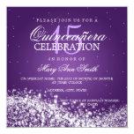 """Púrpura chispeante de la onda 2 del fiesta invitación 5.25"""" x 5.25"""""""