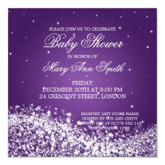 Púrpura chispeante de la onda de la fiesta de invitacion personal