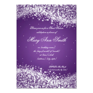 "Púrpura chispeante de la onda de la fiesta de invitación 5"" x 7"""