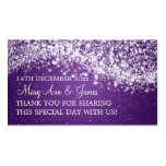 Púrpura chispeante de la onda del boda de la etiqu tarjetas de visita