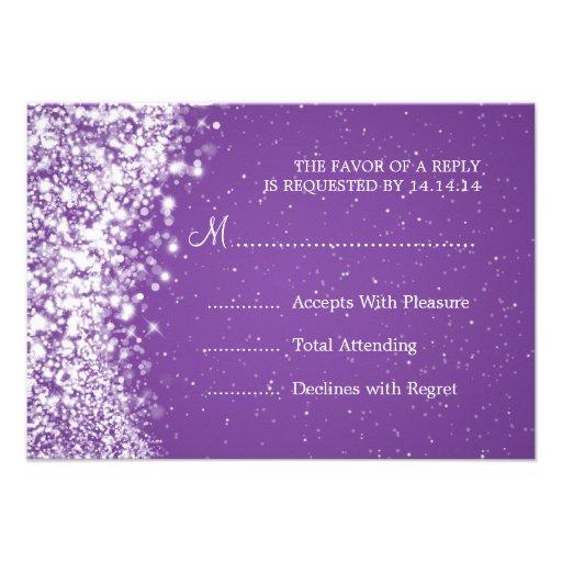 Púrpura chispeante elegante de la onda de RSVP que Comunicados