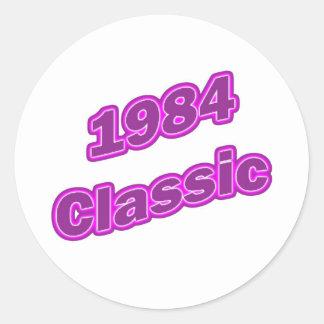 Púrpura clásica 1984 pegatina redonda
