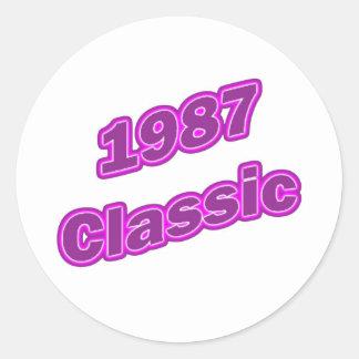 Púrpura clásica 1987 pegatinas redondas