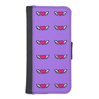 Púrpura coa alas del corazón fundas cartera de iPhone 5