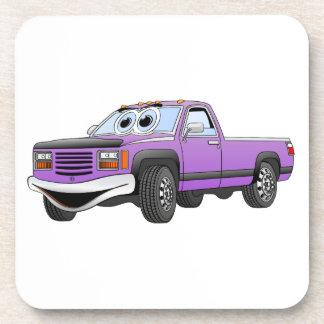 Púrpura coja el dibujo animado del camión posavasos de bebidas