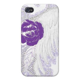 Púrpura color de rosa del corazón iPhone 4 fundas